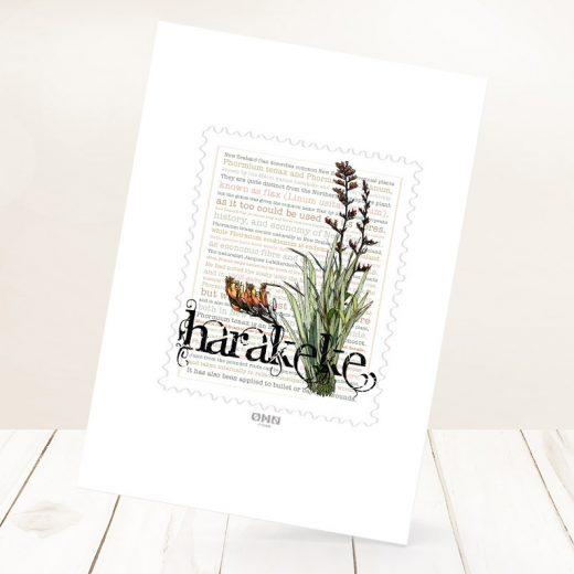 Harakeke print on card.