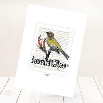 Korimako print on card.