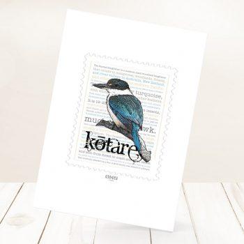 Kōtare print on card.