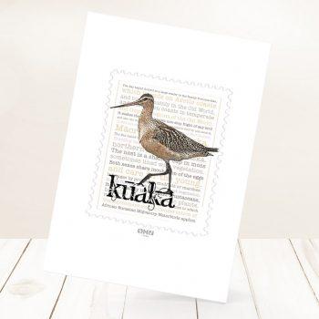 Kūaka print on card.
