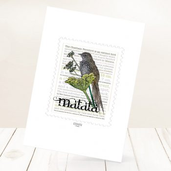 Mātātā print on card.