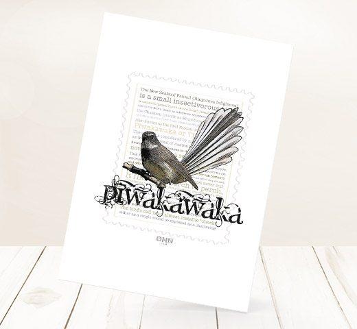 Piwakawaka print on card.
