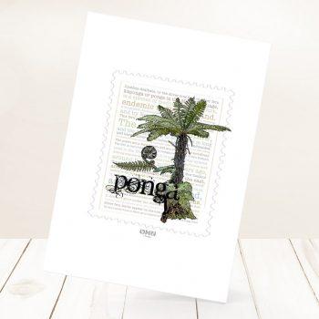 Ponga print on card.