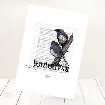 Toutouwai print on card.