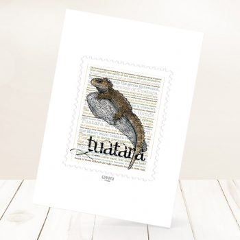 Tuatara print on card.