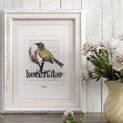 Korimako print display in frame