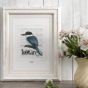 Kōtare print display in frame