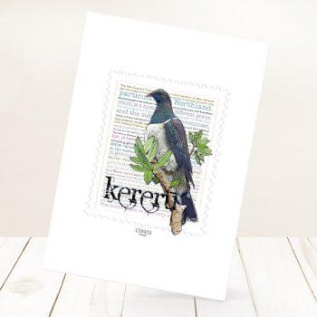 Kereru print on card