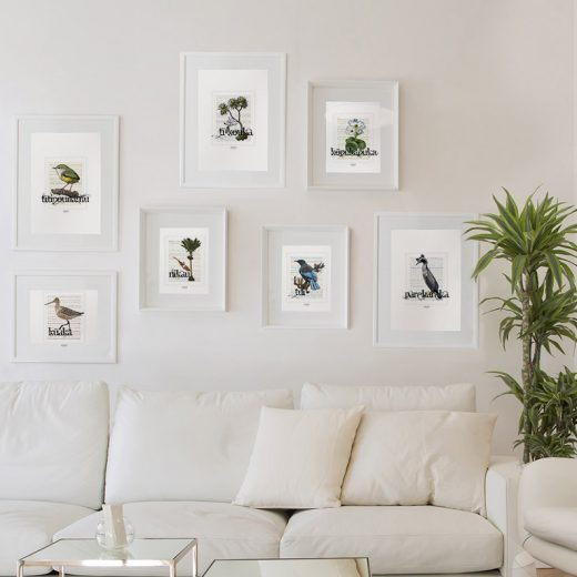 Stamp Style print images display in frame on location
