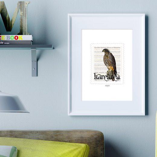 Kārearea print display in frame on location