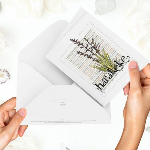 Harakeke print on greeting blank card with colour-in envelope.